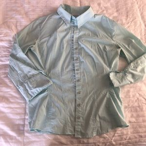 New York and Company Stretch Button Down Shirt L